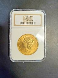 1904 Gold Coin 20 American Double Eagle Liberty Head Ms-63 Ngc In Slab Holder
