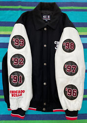 Chicago Bulls 6-time Champion Wool And Leather Varsity Jacket. Size Xl G-iii Sport