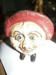 Vintage Art Cast Figural Bank .check My Other Items