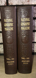 1952 The National Geographic Magazine Bound Library With Maps Volumes 101 And 102