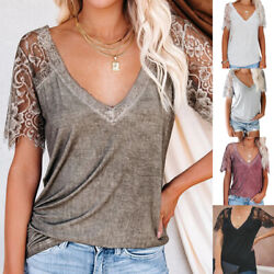 Summer Womens Lace Short Sleeve V Neck Blouse Casual Solid T Shirt Loose Top Tee $16.39
