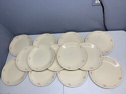 Set Of 13 Vintage Corelle 10.25 Dinner Dishes English Breakfast Pink And Blue