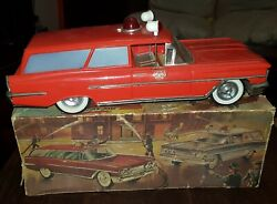 Firechief Spain Tinplate Oldsmobile Rico Vintage Tin Toy 13 Inches 1960 In Box