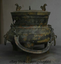 13.6 Marked Old China Bronze Ware Dynasty Chain Portable Drinking Vessel Crock
