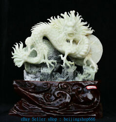18 Chinese Natural Green Xiu Jade Jadeite Carved Dragon Great Wall Sculpture