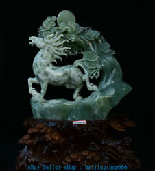 18 Inch Chinese Natural Xiu Jade Master Carved Success Horses Pine Tree Statue