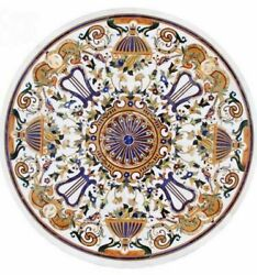 36'' Antique Round White Marble Coffee Table Top Pietra Dura Inlay Room Decor