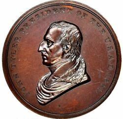 1841-dated John Tyler Peace Medal Small Size First Reverse Julian Ip-23 Ms64 Ngc