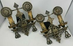 Pair 1920s French Gothic Revival Wall Sconces Brass And Pewter Oscar Bach Style