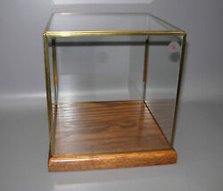 Vintage Brass And Glass Display Cube On Oak Wood Base Made In Canada