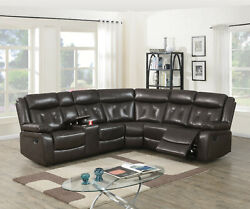 Living Room Reclining Manual Motion Sectional Sofa Console Wedge Recliner Couch