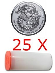Lucky Dragon - 25 X 2019 1 Oz Pure Silver High Relief Coin In Mint Tube - Canada