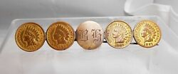 Antique Love Token Five Coin Brooch Pin Indian Head Penny 1887-1907 Engraved Bg