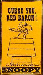 1970s Peanuts Snoopy Curse You Red Baron Pennant Replica Fridge Magnet - New