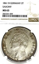 German States Saxony 1861 F Two Taler Coin Ngc Ms 63 F.stg/stg Unc Rare Deutsch
