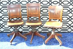 3 Antique Chairs Milwaukee Chair Company Sikes Anatomic Swivel Chair Oak Vintage