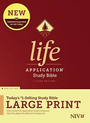 Niv Life Application Study Bible, Third Edition, Large Print Red Letter