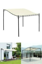 Outdoor Awning Canopy Gazebo 10 X10 Ft. Pergola Sunshade Tent Steel Wall And Floor