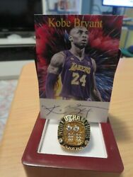 Kobe Bryant Facsimile Signed Card + 2001 Championship Ring. A+ Quality