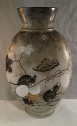 Antique French Opaline Glass Vase With Hand Painted Enamel Mice Eating Grapes