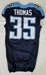 35 Jemea Thomas Of Tennessee Titans Nfl Game Issued Player Worn Jersey