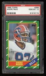 Psa 10 1986 Topps 388 Andre Reed Rookie Rc Hof Bills Pwcc Certified High-end