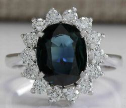 3.62 Ct Oval Cut Natural Sapphire Real Solid 14k White Gold Diamond Ring