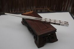 New S999 Sterling Silver Tableware Lucky Many 福 Word Chopsticks 210x6mm 50-53g