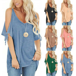 Women Cold Shoulder V Neck Short Sleeve Blouse Casual Loose Tunic T Shirt Tops