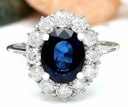 3.81 Ct Oval Cut Natural Sapphire Real Solid 14k White Gold Luxury Diamond Ring
