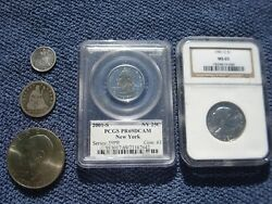 3 Us Coins 1854 Silver Seated Liberty Quarter+1876 Seated Liberty Dime+1981 Sba