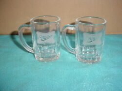 2 Mini 2.75 Miller High Life Beer Glass Mugs W/handles..brewing Co Milwaukee Wi