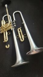 Berkeley Stc Raw Brass Or Silver Eb Trumpet W/ Extra Silver D Bell