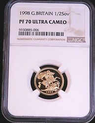 1998 Great Britain Gold 1/2 Sovereign Ngc Pf70 Ultra Cameo Just Graded Pq Gc986