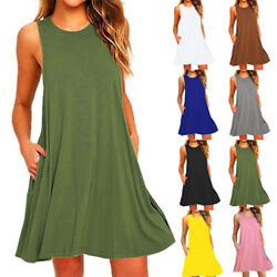 Women Loose Sleeveless Tank Dress Short Dress Solid Casual A line Beach Sundress $11.27