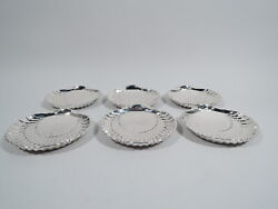 Gorham Plates - 42677 - Set 6 Scallop Shell Seafood - American Sterling Silver