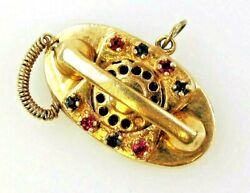 Pendant Charm Vintage Sapphire And Ruby Telephone 14k Yellow Gold .24 Ctw 1.25
