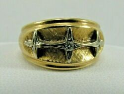 14k Solid Yellow And White Gold Starlet Diamond Dinner Ring Size 5.5 R751a