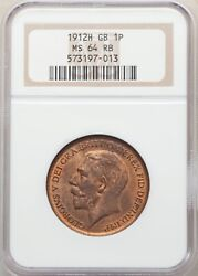 G.b./england George V 1912-h Penny, Choice Uncirculated Certified Ngc Ms-64-rb