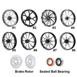 26and039and039 Front Wheel Rim Hub W/ Brake Rotor Fit For Harley Touring Models 2008-2021