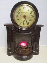 1950and039s Vintage Mastercrafters No 272 Fireplace Motion Clock - Working - Nice
