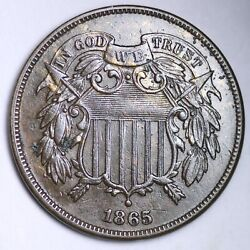 1865 Two Cent Penny Choice Au+/unc Free Shipping E158 Knj