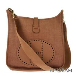 Hermes Evelyn 1gm □ A Stamp Brown Canvas X Leather Cross Body Bag From Japan