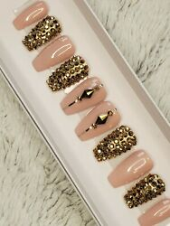Brown Nude And Gold Bling Press On Nails Short Coffin Gold Crystal Set