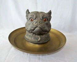Victorian Spelter Bulldog Head W Glass Eyes Ink Stand On Brass Bowl Base