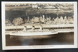 Mint Usa Real Picture Postcard Ss Empress Of Britain At Quebec Canadian Airways