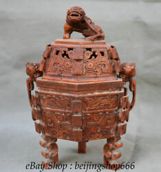 10 Old Chinese Bamboo Root Dynasty Carving Lion Beast Ears Legs Incense Burner
