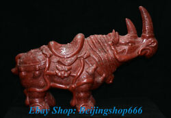 Collect Old Chinese Red Lacquerware Carved Bull Oxen Rhinoceros Statue Sculpture