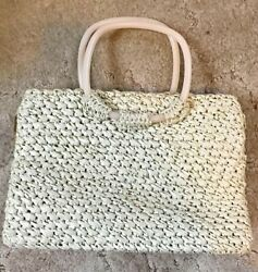 1960andrsquos Vintage Woven Rattan Straw Made In Japan Purse Handbag Mcm Lucite Handles