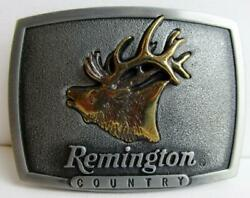 Remington Country Bugling Elk Brass Belt Buckle Sid Bell 1986 Usa